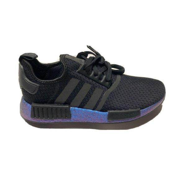 adidas NMD R1 Black Metallic Blue Mens Shoes
